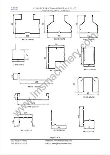 LMS ROLL FORMING PROFILE DRAWING COLLECTION
